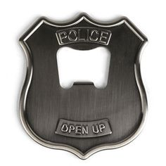 """Your bottle opener can be meaningful, too! This one says """"Police - Open Up"""" - and KIkkerland is presenting it via Fab.com for the time being. Right next to it is a bear head bottle opener, which would work on any backwoods hunting cabin side of the 'fridge. Unless you have a keg-o-lator. In which case it's going to hang around looking cool and collecting pine needles."""