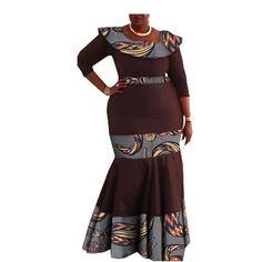 Image of Elegant African print mermaid dress designs three quarter sleeve O-neck ankle-length trumpet women cotton dress African Attire, African Dress, Dress Designs, Quarter Sleeve, Traditional Design, Ankle Length, Cotton Dresses, African Fashion, Sleeve Styles