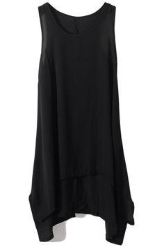 Asymmetric Hem Chiffon Black Tank Dress #Romwe