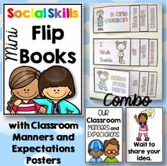 Social Skills Flippy Books with Manners/Expectations Posters COMBO Integrates writing and social skills.