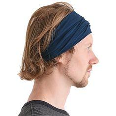 b4ae26eec18 CCHARM Navy Japanese Bandana Headbands for Men and Women Comfortable Head  Bands with Elastic Secure Snug