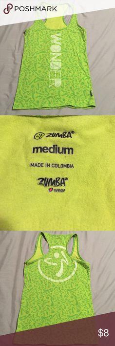 Lime Green Zumba Wonder Tank Gently worn. Lime green wonder Zumba tank. Size M Zumba Tops Tank Tops