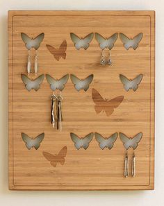 Natural bamboo wall display earring holder by PeshkiShop on Etsy, $59.00