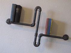 Double Pole Three Tier Walnut Pipe Shelf by vintagepipedreams