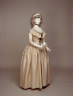 """""""Gown with Front Fall Opening and Vandyked Collar"""" 1780-1790, pink silk dress from Janet Arnold's Patterns of Fashion 1 page 40"""