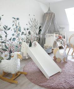 Cute Nursery Baby Room White and Dark Green Wall Art Artistic Wallpaper Illustration Inspiration Wallpaper Room Decor, Nursery Wallpaper, Kids Wallpaper, Artistic Wallpaper, Neutral Wallpaper, Nursery Themes, Nursery Room, Baby Room, Garden Nursery