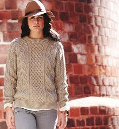 #ClippedOnIssuu from Yarnspirations.com 2014 Fall Lookbook ~ Honeycomb Aran pullover sweater