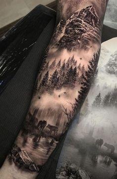 Forest Tattoo Sleeve, Animal Sleeve Tattoo, Nature Tattoo Sleeve, Forest Tattoos, Forearm Sleeve Tattoos, Man Arm Tattoo, Mountain Sleeve Tattoo, Back Tattoo Men, Wolf Tattoo Forearm