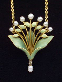 Art Nouveau Lily-of-the-Valley Pendant/Brooch - Tadema Gallery
