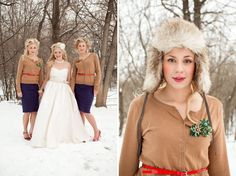 bridesmaids in sweaters, belts + fur caps, Winter wedding inspiration: Old english hunting parties