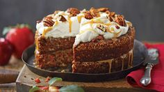 Apple-Pecan Carrot cake with mascarpone frosting and caramel sauce  Top a showstopping crown of Mascarpone Frosting with swirls of Apple Cider Caramel Sauce and a scattering of salty-sweet Spiced Pecans. Caramel sauce, rather than fosting, sandwiches together the moist cake layers.
