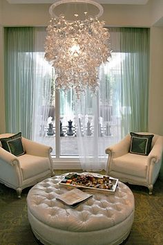 Reception area // Nice Conversation area with a beautiful chandelier.