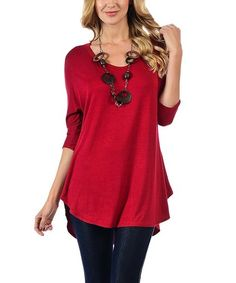 Look what I found on #zulily! Red V-Neck Round-Hem Tunic #zulilyfinds