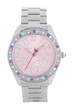 Women's Multi-Colored Crystal Set Case Watch by Betsey Johnson