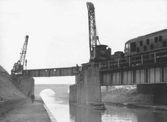 View of the removal of the main bridge girders that carried the Harborne branch over the Birmingham Navigation canal