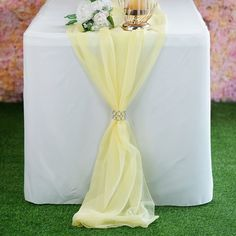 Discounted chiffon Table Runner, Table Covers, Table Skirts and Overlays are available at Tablecloths Factory. Try our elegant Table Decorations and Accessories to accentuate your wedding or reception tables. Wedding Looks, Chic Wedding, Wedding Table, Wedding Blog, Wedding Ideas, Yellow Wedding, Wedding Grey, Rainbow Wedding, Gray Weddings