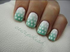 facebook.com/cutepolish | twitter: @cutepolish | instagram: cutepolish A really cute and easy go-to design. The effect of the white polka dots fading away