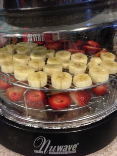 Dehydrating strawberries and bananas- they smelled the house up in 3 mins using our nu wave.  The bell pepper and asparagus were seasoned with steak seasoning.  The best part about doing this is bonding time with my best friend, Amanda Scott.
