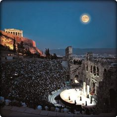 The Odeon of Herodes Atticus in Athens, Attica, Greece Mykonos, Santorini, Oh The Places You'll Go, Places To Travel, Places To Visit, Athens Greece, Acropolis Greece, Attica Greece, Ancient Greece