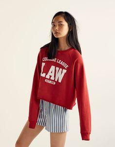 d5066af49770 Printed  College League  sweatshirt - New - Woman - PULL BEAR Greece