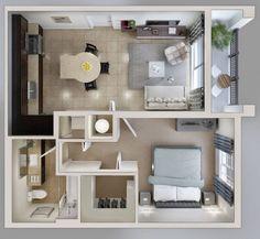 Departamentos modernos Small Space Interior Design, Small Apartment Design, Apartment Layout, Home Room Design, Home Design Plans, Small Apartments, Studio Apartment Floor Plans, Apartment Plans, Sims House Plans