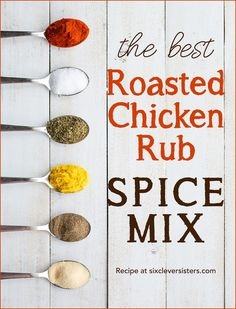 Roasted Chicken Rub Spice Mix: bold, warm flavors that are delicious on roasted chicken! The sweet paprika is the star spice! Homemade Dry Mixes, Homemade Spice Blends, Homemade Seasonings, Homemade Spices, Spice Mixes, Spice Rub, Roast Chicken Rub, Grilled Chicken Rub, Best Roasted Chicken