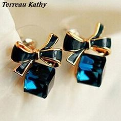94d518e5e Chic Shimmer Plated Gold Bow Cubic Crystal Earrings Rhinestone Stud Earrings  For Women //Price