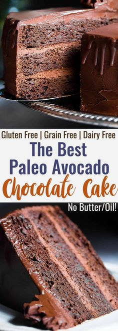 The Best Paleo Chocolate Avocado Cake - This dairy and gluten free Chocolate ca. The Best Paleo Chocolate Avocado Cake - This dairy and gluten free Chocolate cake is SO fluffy and moist you'll never Avocado Dessert, Paleo Dessert, Paleo Sweets, Appetizer Dessert, Chocolate Avocado Cake, Gluten Free Chocolate Cake, Vegan Chocolate, Chocolate Recipes, Cake Chocolate