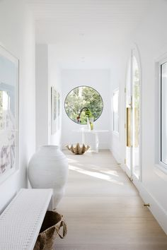 round hallway window Architecture Renovation, Home Renovation, Modern Mediterranean Homes, Three Birds Renovations, Timber Flooring, Flooring Ideas, House Extensions, House Tours, Tile Floor