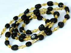 Black Agate and Golden Seed Beaded ID Badge Lanyard Holder or Eyeglass Chain Necklace by nonie615, $23.00