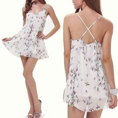 White Spaghetti Strap Birds Print Dress