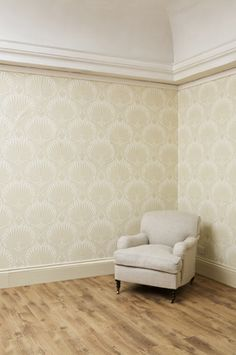 Farrow Ball Lotus BP2003 Wallpaper In Living Room Woodwork Matchstick And Walls