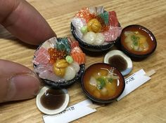 粘土で作った海鮮丼です #miniature  #ミニチュア #粘土  #フェイクフード