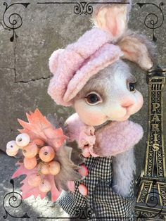 Autumn. Paris. Chanel By Sadovskaya Tatiana - rabbit sewn from mohair. filled - wool. and granules. front legs can bend. cap sewn from Italian wool. Pants are made of wool.bouquet of berries and leaves made of polymer clay and felt