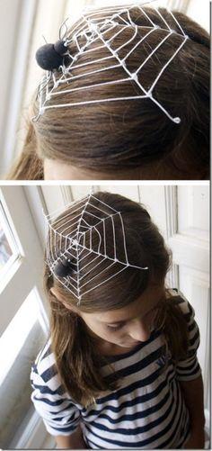 halloween kinder frisuren spinne spinnennetz accessories