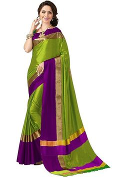 Art Décor Indian Women's Cotton Silk Festive Saree with Blouse Piece(Pradip_TD_Green_Green & Pink_Free Size) Silk Cotton Sarees, Art Silk Sarees, Cotton Silk, Business Outfits Women, Latest Designer Sarees, Indian Beauty Saree, Party Wear Sarees, Beautiful Saree, Saree Collection