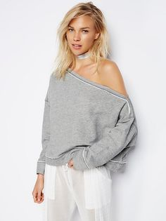 Surf Shack Pullover | Super comfy cotton-blend sweatshirt featuring an oversized, off-the-shoulder silhouette and relaxed fit. Exposed seams and raw hems make for a lived-in look.