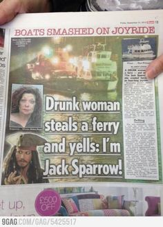 Drunk woman steals a ferry and yells: Im Jack Sparrow!