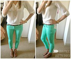 Green pants and a flowy blouse for summer!