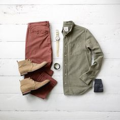 Colored Chinos and a great pair of boots make for the perfect Men's fall fashion look.