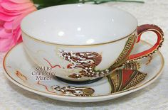 Dragonware Tea Cup & Saucer, Moriage Japan Porcelain, Handpainted Gold Overlay, Orange Dragon, Vintage Japanese China Designer Signed PG248A
