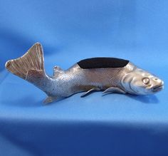 Antique EXCELLENT Giant Fish (Carp?) Sterling Silver Pin Cushion, WOW! #Unbranded