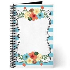 Blue Bold Stripes Modern Floral Invitation Journal