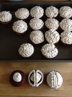 Photo on City Kids / Another fun halloween party idea: brain cupcakes (pink frosting would be even more grotesque!)