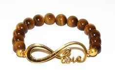 Infinite Love...Gold Plated Infinity Love Tiger Eye by iyildiz, $24.00