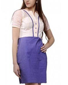 Pleated Sleeves Dress pinkblueSD00279