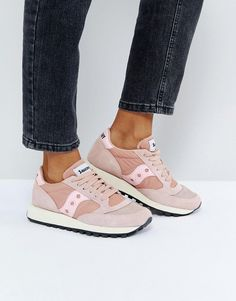 Buy it now. Saucony Jazz O Vintage Trainers In Pink - Pink. Trainers by Saucony, Suede and textile upper, Lace-up design, Branded tongue and cuff, Padded for comfort, Saucony logo detail, Chunky sole, Moulded tread, Wipe with a damp cloth, 50% Suede, 50% Textile Upper. Ever followed someone down the street to ask where their trainers are from? Well, we did it with Saucony. Huge with runners � they were early pioneers of the triathlon � these retro runners are the last word in colour-clash...