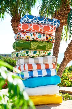 "With over 60 outdoor cushion collections, Pier 1 is redefining the term ""roughing it."" In fact, we have more choices for high-quality outdoor comfort than ever. Solids. Prints. Tufted. Deluxe. All UV- and mildew-resistant for outdoor durability—with indoor comfort in mind. Updating your patio on the fly has never been so easy."