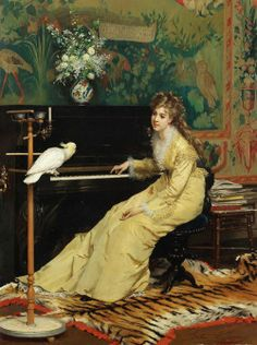 """Gustave Léonard de Jonghe, """"Woman at the piano with Cockatoo,"""" 1870 from Belle Epoque Europe Facebook page"""