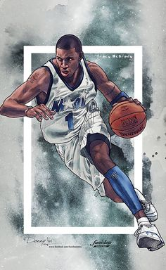 A fantastic collection of NBA basketball artworks by superstar Asian artists celebrating the greatest players & teams. Basketball Tricks, I Love Basketball, Basketball Posters, Basketball Legends, College Basketball, Basketball Design, Tracy Mcgrady, Nba Pictures, Man Cave Art